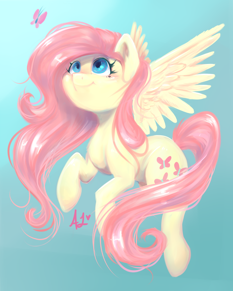 fluttershy flying with butterflies - 480×600