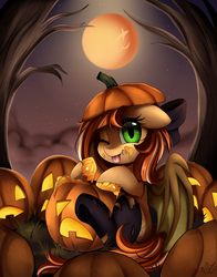 Size: 2152x2747   Tagged: safe, artist:pridark, part of a set, oc, oc only, oc:pumpkin patch, bat pony, bat pony oc, commission, cute, fangs, full moon, halloween, holiday, jack-o-lantern, moon, night, ocbetes, pumpkin, smiling, solo, stars, tongue out, tree, wings