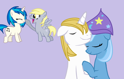 Size: 1358x862 | Tagged: artist:pony-stamps, bluetrix, cute, derpy hooves, derpyscratch, dj pon-3, female, male, prince blueblood, safe, shipping, straight, trixie, vinyl scratch