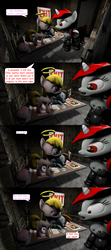 Size: 1920x4320 | Tagged: 3d, 4koma, artist:wiimeiser, clothes, comic, cyborg, fallout equestria, fanfic, fanfic art, female, filly, halo, hooves, horn, implied bedwetting, implied birth defect, implied diaper, implied pacemaker, makeshift bed, mare, nightmare, nintendo switch, oc, oc:blackjack, oc:littlepip, oc only, oc:puppysmiles, pipbuck, pony, prosthetics, safe, sleeping, source filmmaker, speech bubble, unicorn, vault suit, worried