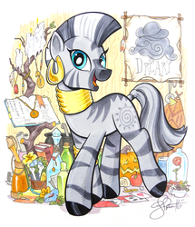 Size: 2657x3091 | Tagged: artist:andypriceart, beauty and the beast, book, candle, cauldron, colored pencil drawing, cute, dreary, edit, editor:dsp2003, female, flower, jewelry, looking at you, mare, marker drawing, pumpkin, rose, safe, smiling, solo, traditional art, zebra, zecora, zecorable