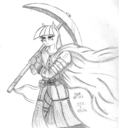 Size: 2158x2295 | Tagged: anthro, armor, artist:mane-shaker, cape, clothes, gloves, maud pie, monochrome, pickaxe, safe, traditional art