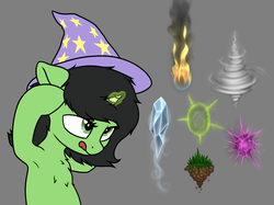 Size: 3772x2821 | Tagged: air, armpits, artist:smoldix, bipedal, chest fluff, earth, female, filly, fire, floppy ears, fluffy, focus, focused, glowing horn, grass, gray background, hat, ice, lidded eyes, magic, oc, oc:filly anon, oc only, :p, pony, :q, race swap, safe, silly, simple background, smoke, solo, this will end in tears, tongue out, tornado, unicorn, wind, wizard hat