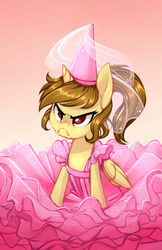 Size: 3300x5100 | Tagged: alicorn, angry, artist:starshinebeast, clothes, cute, dress, female, grumpy, grumpy cat, hat, oc, oc:katya ironstead, oc only, ponytail, red eyes, safe, solo