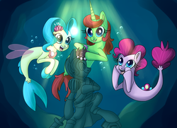 Size: 5386x3890 | Tagged: ariel, artist:lamentedmusings, disney, my little pony: the movie, ocean, pinkie pie, ponified, pony, princess skystar, safe, seaponified, seapony (g4), seapony pinkie pie, species swap, that pony sure does love being a seapony, the little mermaid, underwater