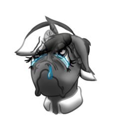 Size: 512x512 | Tagged: artist:hilfigirl, bust, cartoon, color change, crying, doctor, head, head mirror, oc, oc:aescula, oc only, sad, safe, simple background, solo, transparent background, unicorn