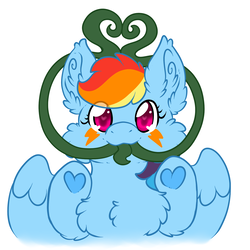 Size: 1500x1500 | Tagged: safe, artist:mothofamber, rainbow dash, monster pony, original species, pegasus, tatzlpony, chest fluff, ear fluff, female, fluffy, happy, heart, heart eyes, hooves, imminent vore, looking at you, prehensile tongue, simple background, solo, species swap, tatzldash, tentacle tongue, tentacles, tongue out, underhoof, white background, wingding eyes, wings