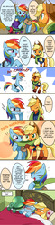 Size: 860x3540 | Tagged: safe, artist:ryuu, applejack, rainbow dash, tank, earth pony, pegasus, pony, tortoise, appledash, bed, blushing, clothes, cold, cowboy hat, dialogue, eyes closed, female, freckles, hat, japanese reading order, lesbian, looking at each other, mare, one eye closed, open mouth, scarf, shared clothing, shared scarf, shipping, sick, smiling, sneezing, speech bubble, thermometer