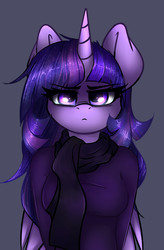 Size: 2633x4015 | Tagged: safe, artist:duop-qoub, twilight sparkle, alicorn, unicorn, anthro, descended twilight, clothes, female, gray background, looking at you, scarf, simple background, solo, twilight sparkle (alicorn)