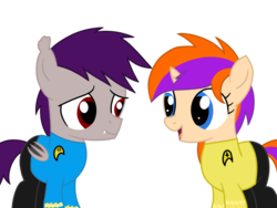 Size: 1600x1200 | Tagged: artist:toyminator900, bat pony, colt, female, filly, male, oc, oc:coldfire (bat pony), oc only, oc:quick note, pony, safe, simple background, star trek, transparent background, unicorn