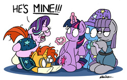 Size: 2432x1530   Tagged: safe, artist:bobthedalek, boulder (pet), maud pie, starlight glimmer, sunburst, trixie, twilight sparkle, alicorn, earth pony, pony, unicorn, uncommon bond, angry, butthug, cape, clothes, cross-popping veins, cup, dialogue, face down ass up, female, floppy ears, glimmer group, hat, hug, jealous, levitation, magic, male, possessive, quiet, ragelight glimmer, raised hoof, shipping, shrunken pupils, simple background, sitting, starburst, straight, teacup, telekinesis, trixie's cape, trixie's hat, twilight sparkle (alicorn), white background, yandere, yandere glimmer, yelling