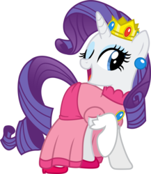 Size: 1734x2002 | Tagged: safe, artist:davidsfire, rarity, pony, unicorn, clothes, cosplay, costume, crossover, crown, dress, female, mare, nintendo, one eye closed, open mouth, princess peach, raised hoof, raripeach, regalia, request, simple background, solo, super mario bros., transparent background, wink