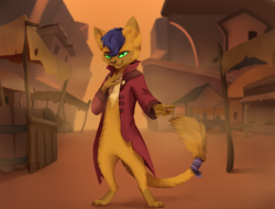 Size: 1024x778 | Tagged: safe, artist:reysi, capper dapperpaws, abyssinian, anthro, cat, digitigrade anthro, my little pony: the movie, clothes, coat, klugetown, looking at you, male, paw pads, solo