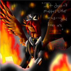 Size: 727x725 | Tagged: safe, artist:florarena-kitasatina/dragonborne fox, part of a set, pegasus, pony, clothes, colored wings, crossover, death threat, destruction, dialogue, embers, epic battle fantasy, fire, glowing eyes, glowing eyes of doom, hair over one eye, implied multiple ponies, lance (epic battle fantasy), looking at you, male, military uniform, nightmare fuel, ow the edge, ponified, raised hoof, red eyes take warning, rubble, sinister smile, smoke, solo, spread wings, staring into your soul, the fourth wall cannot save you, the last of these is not like the others, this will end in tears and/or death, torn ear, uniform, watermark, what a lovely pony to meet in the middle of the night, wings