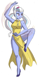 Size: 1640x3250 | Tagged: safe, artist:danmakuman, sugarcoat, equestria girls, armpits, breasts, cheongsam, clothes, dress, female, flats, martial arts, open mouth, raised leg, schrödinger's pantsu, shoes, side slit, sideboob, simple background, sleeveless, solo, white background