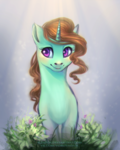Size: 1600x2006 | Tagged: safe, artist:elzafox, oc, oc only, pony, unicorn, bust, commission, female, mare, portrait, smiling, solo