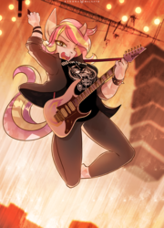 Size: 1008x1400 | Tagged: safe, artist:foxinshadow, oc, oc only, oc:proud ametrine, crystal pony, anthro, unguligrade anthro, anthro oc, clothes, electric guitar, female, guitar, ibanez, looking at you, mare, musical instrument, open mouth, pants, shirt, solo