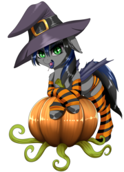 Size: 1545x2142 | Tagged: safe, artist:dankflank, derpibooru exclusive, oc, oc only, oc:nightglider, bat pony, pony, bat pony oc, candy, clothes, crossed hooves, fangs, female, food, halloween, hat, holiday, lollipop, looking at you, mare, open mouth, panties, pumpkin, slit eyes, socks, solo, stockings, striped socks, striped underwear, thigh highs, tongue out, underwear, witch hat