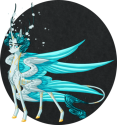 Size: 2242x2400 | Tagged: alicorn, alternate universe, antlers, artist:australian-senior, colored hooves, hybrid, kirindos, leonine tail, multiple wings, oc, oc:flynn aetherius, oc only, pony, safe, seraph, seraphicorn, solo, swirly markings