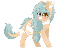 Size: 2500x2000 | Tagged: artist:cinnamontee, blushing, earth pony, female, flower, high res, horns, mare, mouth hold, oc, oc:forest keeper, oc only, pony, safe, simple background, solo, transparent background