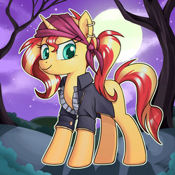 Size: 3024x3012 | Tagged: safe, artist:nauth, sunset shimmer, pony, unicorn, clothes, ear piercing, earring, female, full moon, halloween, holiday, jewelry, looking at you, mare, missing cutie mark, moon, nauthmaresnight, night, nightmare night, piercing, smiling