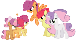 Size: 1436x784 | Tagged: safe, artist:sarahstubbs, apple bloom, scootaloo, sweetie belle, oc, oc:applefire, oc:appleracer, oc:sweet seed, magical lesbian spawn, offspring, parent:apple bloom, parent:babs seed, parent:scootaloo, parent:sweetie belle, parents:babsbelle, parents:scootabloom, shipping