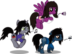 Size: 2053x1557 | Tagged: artist:lightningbolt, bloodshot eyes, bone, bring me the horizon, clothes, crossed hooves, derpibooru exclusive, disguised siren, drop dead clothing, earth pony, fangs, floppy ears, flying, frown, grin, happy, horn, jewelry, kellin quinn, lidded eyes, lip piercing, long sleeves, looking down, male, music notes, necklace, nose piercing, oliver sykes, pegasus, pierce the veil, piercing, ponified, pony, pronking, sad, safe, scar, shirt, simple background, sleeping with sirens, slit eyes, smiling, smirk, smug, stallion, stitches, svg, .svg available, symbol, tilde, transparent background, trio, t-shirt, umbrella, undead, unicorn, vector, vic fuentes, walking, wings, zombie, zombie pony