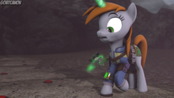 Size: 3840x2160 | Tagged: safe, artist:goatcanon, oc, oc:littlepip, pony, unicorn, fallout equestria, 3d, clothes, crossover, fallout, fanfic, fanfic art, female, glowing horn, gun, handgun, horn, landmine, little macintosh, magic, mare, pipbuck, revolver, solo, source filmmaker, telekinesis, this will end in death, this will end in explosions, vault suit, wasteland, weapon