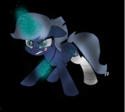 Size: 624x560 | Tagged: artist:sliverdusk95, bandaged leg, eye scar, female, magical lesbian spawn, mare, movie accurate, my little pony: the movie, oc, oc only, offspring, parents:tempestrix, parents:tempixie, parent:tempest shadow, parent:trixie, pony, safe, scar, solo, unicorn