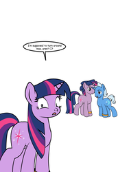 Size: 600x799 | Tagged: safe, artist:dekomaru, trixie, twilight sparkle, tumblr:ask twixie, ask, cropped, dusk shine, dusktan, female, gay, gay in front of girls, male, rule 63, self ponidox, shipping, tristan, tumblr, twixie