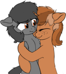 Size: 1562x1757 | Tagged: safe, artist:zippysqrl, oc, oc only, oc:charcoal, oc:sign, pegasus, pony, unicorn, :t, chest fluff, cute, duo, eyes closed, female, freckles, hug, mare, simple background, smiling, transparent background