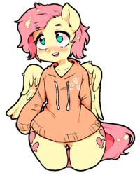 Size: 651x815 | Tagged: artist:kkotnim, blushing, both cutie marks, butterscotch, clothes, femboy, fluttershy, hoodie, male, rule 63, safe, simple background, solo, white background