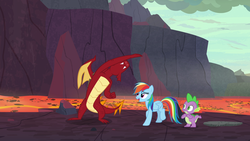 Size: 1920x1080 | Tagged: armpits, dragon, garble, rainbow dash, safe, screencap, shadow play, spike