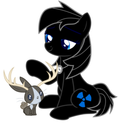 Size: 2608x2751 | Tagged: safe, artist:poniacz-internetuff, oc, oc only, oc:scarlet factory, earth pony, jackalope, pony, female, high res, mare, simple background, sitting, solo, transparent background