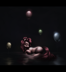 Size: 1500x1620 | Tagged: artist:ventious, balloon, earth pony, eyes closed, pinkie pie, pony, sad, safe, solo