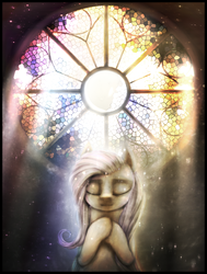 Size: 870x1150 | Tagged: artist:ventious, backlighting, crepuscular rays, dark, eyes closed, fluttershy, kindness, pegasus, pony, sad, safe, seven heavenly virtues, solo, stained glass