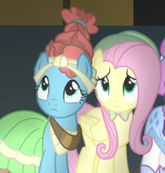 Size: 593x621 | Tagged: cropped, fluttershy, meadowbrook, rarity, safe, screencap, shadow play
