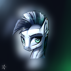 Size: 1100x1100 | Tagged: artist:starfall-spark, bust, fallout equestria, female, head, mare, oc, oc only, oc:xenith, safe, solo, zebra, zebra oc