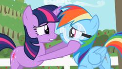 Size: 1280x720 | Tagged: safe, screencap, rainbow dash, twilight sparkle, pegasus, pony, unicorn, lesson zero, duo, female, goggles, mare, out of context, unicorn twilight