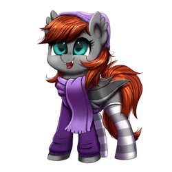 Size: 1000x1000 | Tagged: safe, artist:confetticakez, oc, oc only, oc:grem, bat pony, pony, adorable face, bat pony oc, beanie, clothes, cute, grembetes, happy, hat, hnnng, hoodie, scarf, simple background, smiling, socks, solo, striped socks, white background, ych result