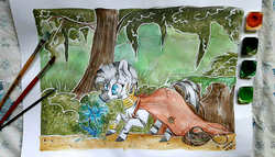 Size: 1816x1036 | Tagged: safe, artist:woonborg, zecora, zebra, bracelet, cheek fluff, chest fluff, cloak, clothes, ear fluff, ear piercing, female, flower, forest, frown, jewelry, looking down, neck rings, outdoors, paintbrush, piercing, poison joke, signature, solo, standing, traditional art, tree, watercolor painting