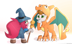Size: 5000x3050 | Tagged: artist:n0nnny, clothes, commission, cosplay, costume, halloween, hat, holiday, oc, oc:ateren steelbender, oc:little love, oc only, pokémon, safe, wizard hat