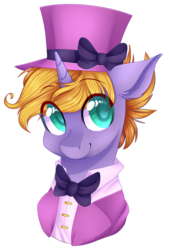 Size: 911x1346 | Tagged: artist:shiromidorii, bowtie, bust, clothes, hat, male, oc, oc:circus legend, oc only, pony, portrait, safe, simple background, solo, stallion, top hat, transparent background, unicorn