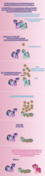 Size: 504x1981 | Tagged: ain't never had friends like us, alicorn, armband, artist:verve, comic, earth pony, female, food, genie, gradient background, headband, leg brace, mare, pegasus, pie, pinkie pie, pixel art, pony, rainbow dash, safe, secrets and pies, twilight sparkle, twilight sparkle (alicorn), wing jewelry