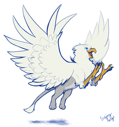 Size: 1000x1075 | Tagged: artist:tinibirb, artist:undyingsong, colored, color edit, edit, flying, griffon, leaping, majestic, oc, oc:der, oc only, safe, solo