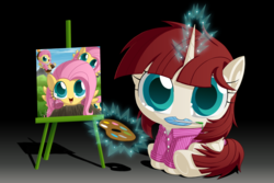 Size: 3000x2000 | Tagged: alicorn, alicorn oc, artist:berrypawnch, berrypawnch is trying to murder us, berrypawnch murdered us, bob ross, chibi, clothes, cute, feather, female, flutterforest, fluttershy, fluttertree, glowing horn, happy little trees, levitation, magic, mare, mouth hold, multeity, oc, oc:fausticorn, painting, palette, pegasus, pony, quill, safe, shyabetes, so much flutter, telekinesis
