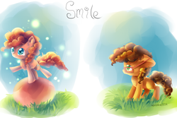 Size: 3600x2400 | Tagged: artist:aquagalaxy, balancing, cheese sandwich, glasses, grass, observer, partial background, pinkie pie, pinkie pride, pony, safe, younger
