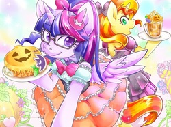 Size: 1000x744   Tagged: safe, artist:hobilo, sci-twi, sunset shimmer, twilight sparkle, alicorn, pony, unicorn, equestria girls, bipedal, bow, cake, clothes, dress, duo, equestria girls ponified, female, food, glasses, halloween, holiday, jack-o-lantern, looking at each other, mare, ponified, ponytail, pumpkin, scitwilicorn, smiling, spread wings