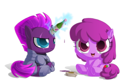 Size: 2000x1333 | Tagged: artist:berrypawnch, berry punch, berryshine, bottle, chibi, drunk, duct tape, earth pony, female, fizzlepop berrytwist, go home you're drunk, magic, mare, my little pony: the movie, pony, safe, tape, tempest gets her horn back, tempest shadow, unicorn, wine bottle