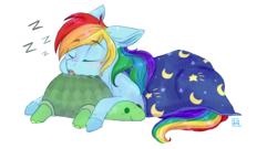 Size: 3575x1929 | Tagged: safe, artist:yomitai, rainbow dash, tank, pegasus, pony, blanket, blushing, cute, dashabetes, drool, eyes closed, female, floppy ears, mare, plushie, prone, simple background, sleeping, smiling, white background, zzz